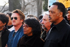 Waters with Sean Penn and Jesse Jackson