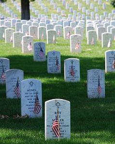 Arlington Gravestones with flags