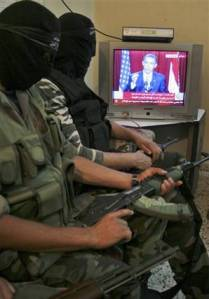 Militants watching Obama Speech