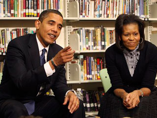 Obamas at school